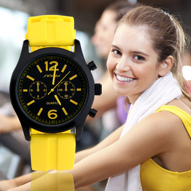 SINOBI Sports Watches for Lady Colorful Silicone Straps Luxury Brand Womens Casual Wrist Quartz-watch 2017 Clocks Reloj Mujer 2016 fashion lady wrist watch casual silicone watches with quartz unisex wristwatches for men women gift silicona children mujer