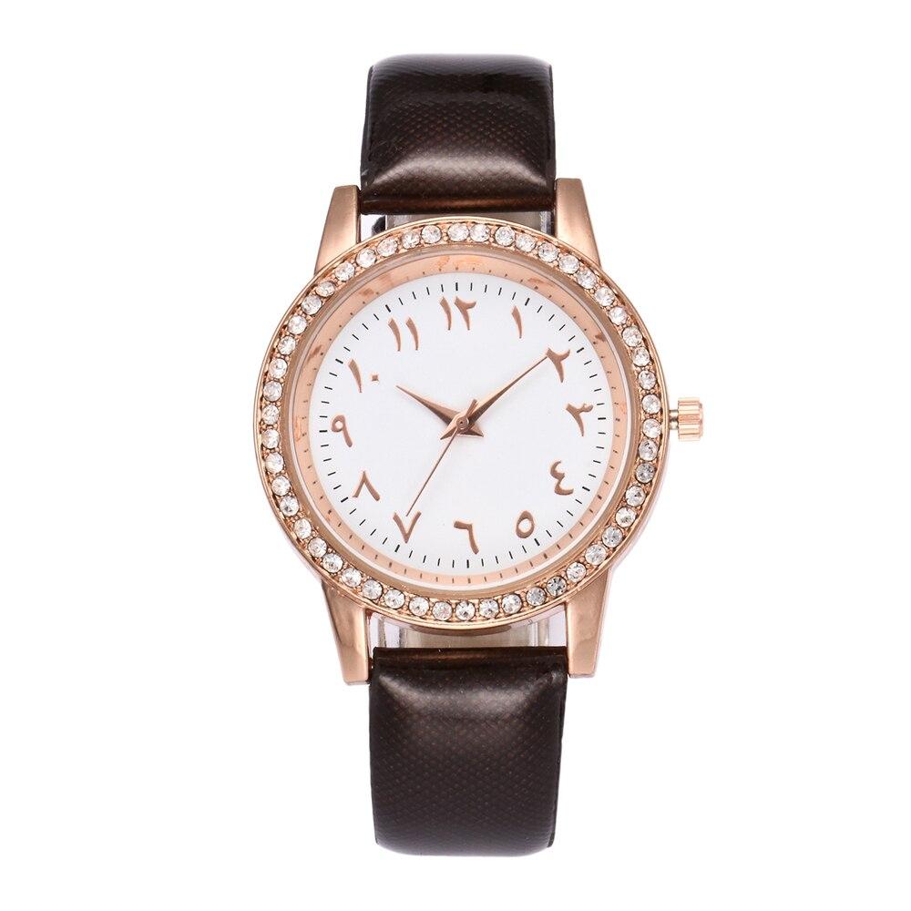 Ladies Læder Quartz Watch High Quality Arabiske Nummer Rhinestone - Dameure - Foto 4