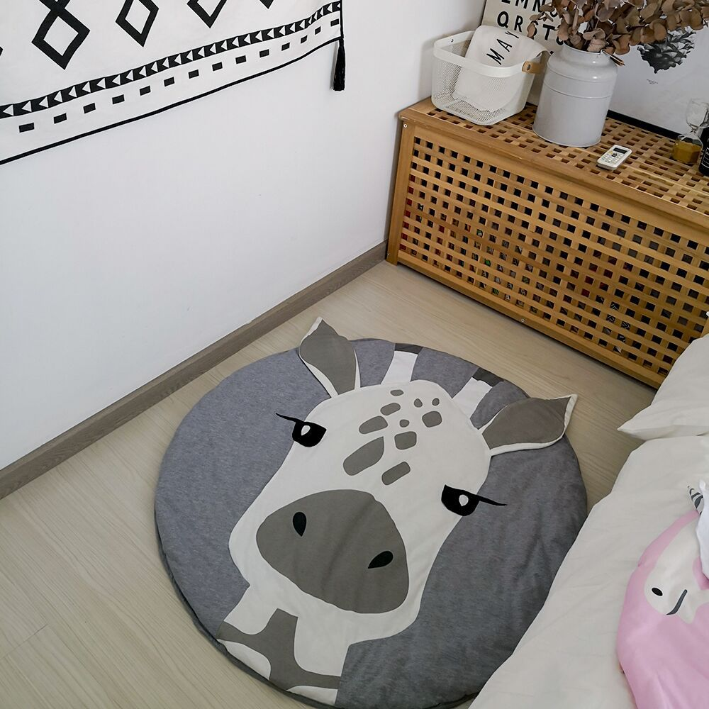 HTB1NS6ssRjTBKNjSZFDq6zVgVXae Cartoon Animals Baby Play Mat Foldable Kids Crawling Blanket Pad Round Carpet Rug Toys Cotton Children Room Decor Photo Props