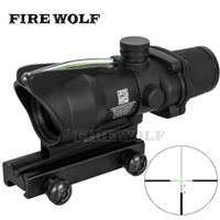 Trijicon ACOG 4X32 Fiber Source Green Illuminated Scope Black Color Tactical Hunting Riflescope
