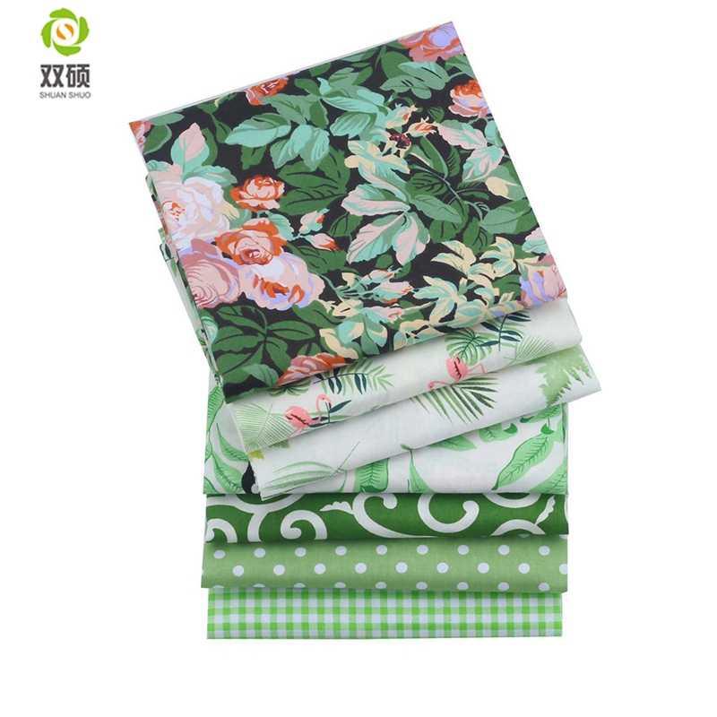 Shuanshuo 7 قطعة/الوحدة ، الأخضر Foral حك القطن النسيج ، خليط القماش ل DIY اللحف الخياطة الطفل و الأطفال ملاءات اللباس المواد