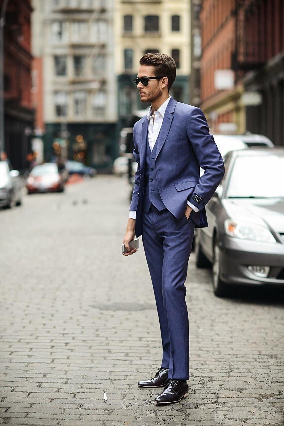 Uued mehed ülikond bleiserid kaks nuppu nööpkaela 3 tükki (jope + - Meeste riided - Foto 1