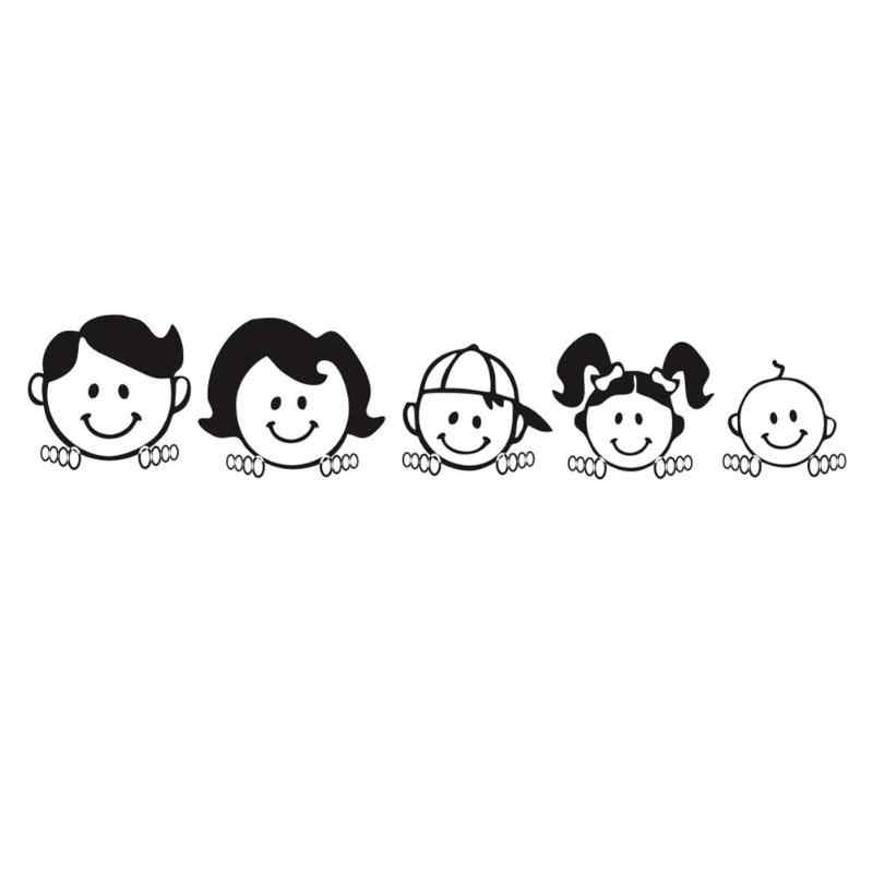 Happy Family Vinyl Car Sticker Cute Cartoon Letter Personality Durability Art Design Pattern Decal For Windshield Black White Stickers Aliexpress