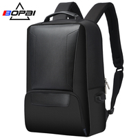 BOPAI 2018 Men Laptop Backpack 15.6 Inch Daily Work Backpack Men Black Leather Schoolbag High School back pack mochila escolar