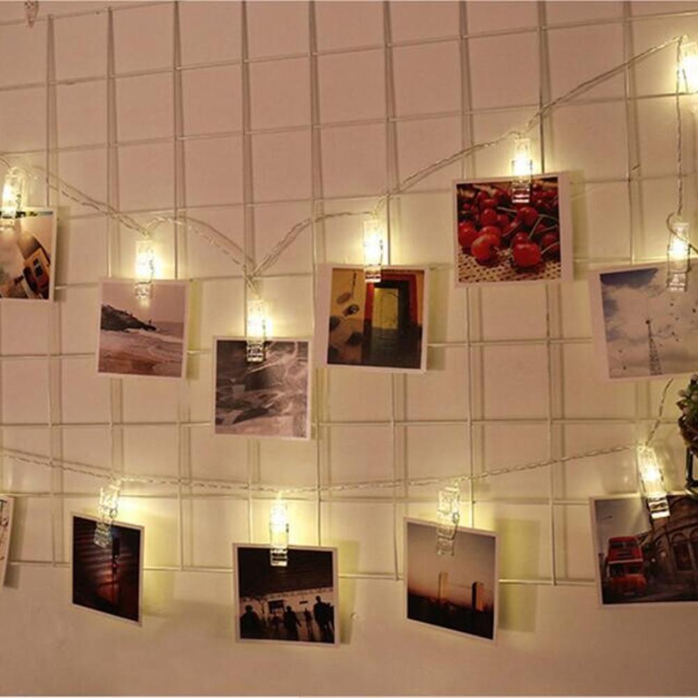 40 leds photo clip string light battery powered 5m 16 4ft - String lights living room ...
