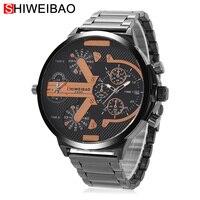 Прохладный Для мужчин S Часы лучший бренд класса люкс кварц Часы мужские черные Сталь наручные часы Dual Time зон Дата Relogio masculino Военная униформ