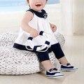 Летние Дети ДЕТСКАЯ Одежда Baby Girl одежда элегантная мода Хлопок Черный Белый Сейлор Костюм Жилет Dress + Брюки