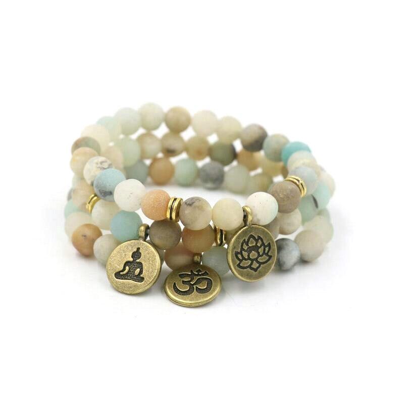 e59333447e5d Mate amazonita piedra de Buda meditar pulsera OM loto encanto Yoga Chakra  Pulseras de las mujeres de los hombres Masculino Pulseras de la joyería en  ...