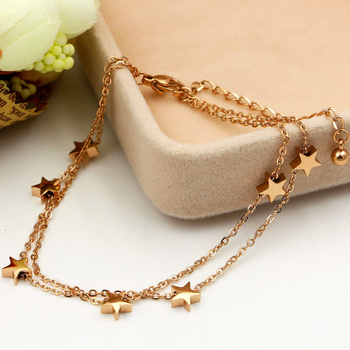 Highly Polished Beautiful Double-Layered Chain And Star Anklet Top Quality Titanium Steel Jewelry Woman Child Best Gift 5