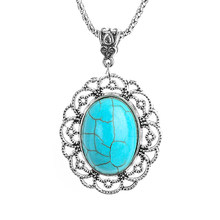 SHUANGR Bohemian Oval Floral Necklace For Women with Rope Chain Crystal Natural Stone Blue Charm Flower Pendant Collier Femme(China)