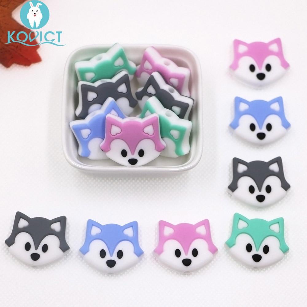 Kovict 28mm 4/8pcs Mini Cute Fox Baby Teether Teething Beads Food Grade Cartoon Silicone Beads DIY Necklace Toys Nursing Beads