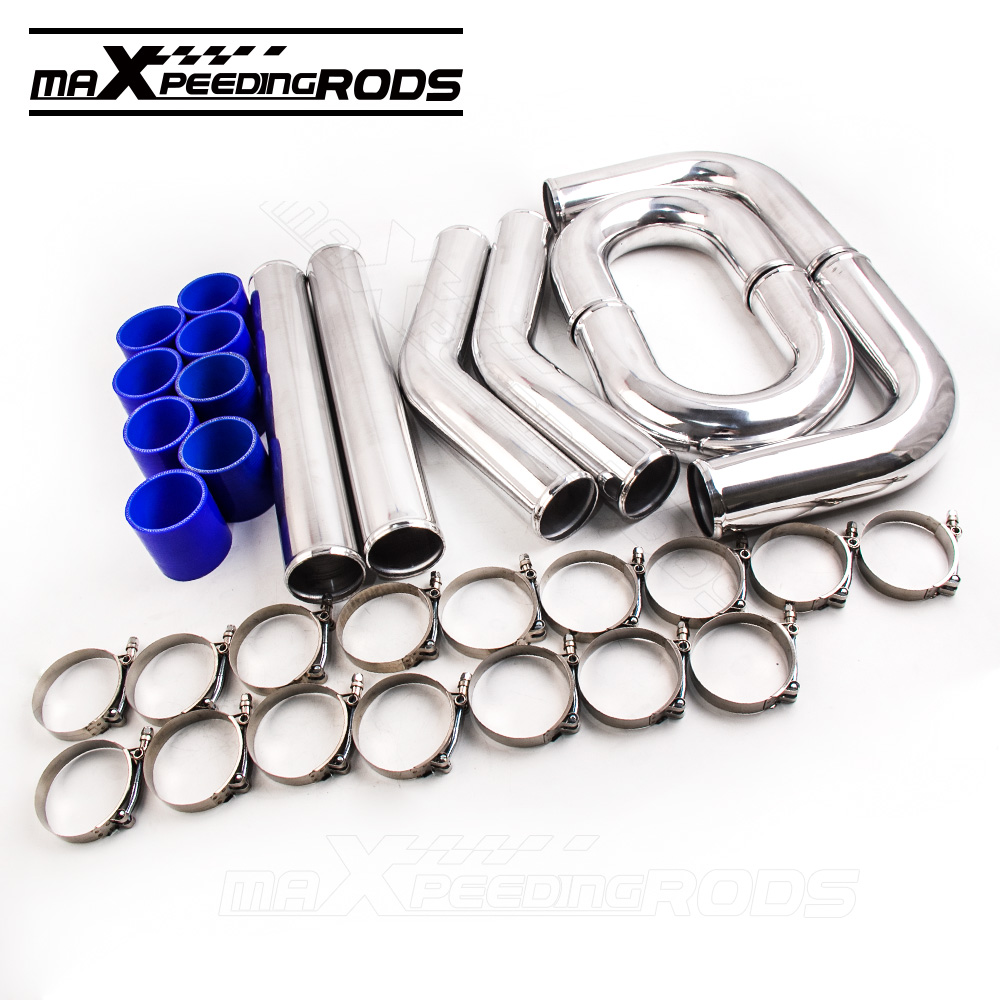 UNIVERSAL TURBO BOOST INTERCOOLER PIPE KIT 3 76MM 8 PIECES ALLOY PIPING BLUE 31x12x3 inch universal turbo fmic intercooler 3 inch piping kit toyota supra mkiii mk3 7mgte