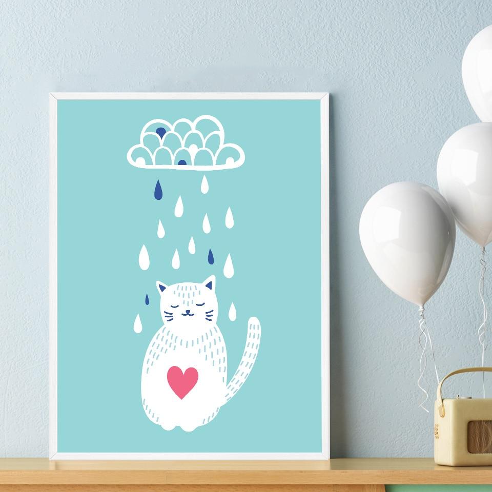 Toko Online Foocame Kartun Cat Gelap Awan Hujan Art Kanvas