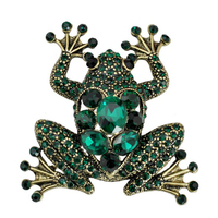 Vintage Designer Flash Green Crystal Frog Brooch Animal Corsage Exaggerated Jewelry