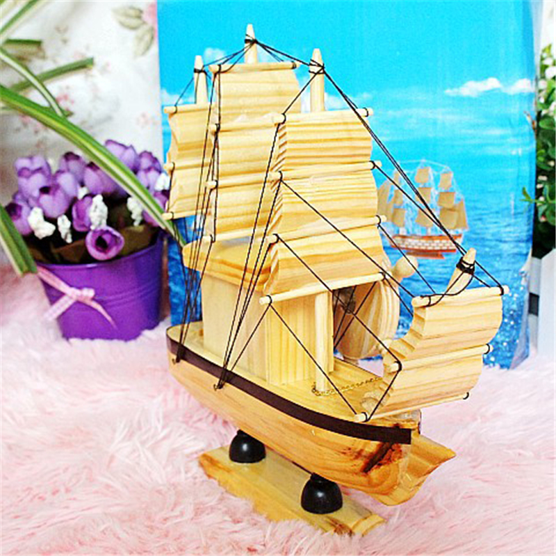 Simple Wooden Sailboat Ornaments Music Box Romantic Presents for ...