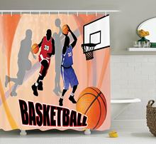 Sports Shower Curtain Set Basketball Action Players On Abstract Background Classical Poster Style Illustration Bathroom Decor(China)