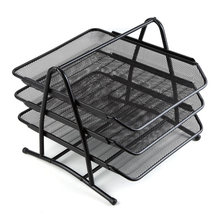 Metal Mesh Desktop Organizer Rack Folders Documents Magazines Files Books Holder for Office Classroom School Study Home(China)