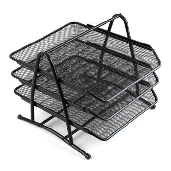 Metal Mesh Desktop Organizer Rack Folders Documents Magazines Files Books Holder for Office Classroom School Study Home