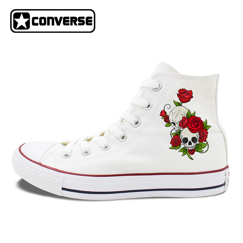 Women Converse Sneakers Men Canvas Shoes Original Design Roses Skulls Floral Trend Blossoms Skateboarding Shoes High Tops hand painted skull flower converse chucks men women skateboarding shoes floral canvas sneakers high top flats