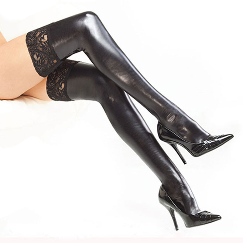 Women Sexy Latex Stockings Lady's Black PVC Pole Dance Leather Erotic Clubwear Length Lace Knee High Stockings Vintage Stocking