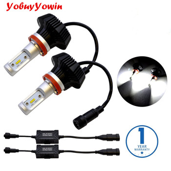 Pair Branco H8 H11 H9 16000Lm LumiledZES Chip 100W LED Car Bulbs Conversion Kit for Car Headlights FogLights DRL 6000K White image
