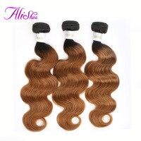 Alishes Hair Brazilian Body Wave Ombre Bundles 1B/30 Blonde Color Hair 1/3 Bundles NonRemy Human Hair Weave Extensions 12 24Inch