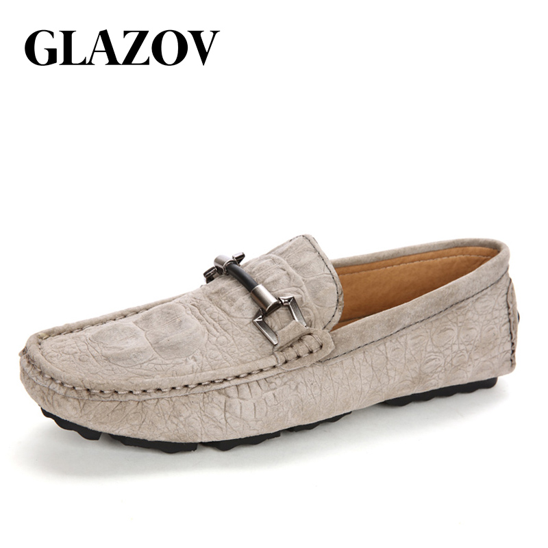 GLAZOV Brand Size 38-45 Cow   Suede     Leather   Men Flats 2018 New Men Casual Shoes High Quality Men Loafers Moccasin Driving Shoes