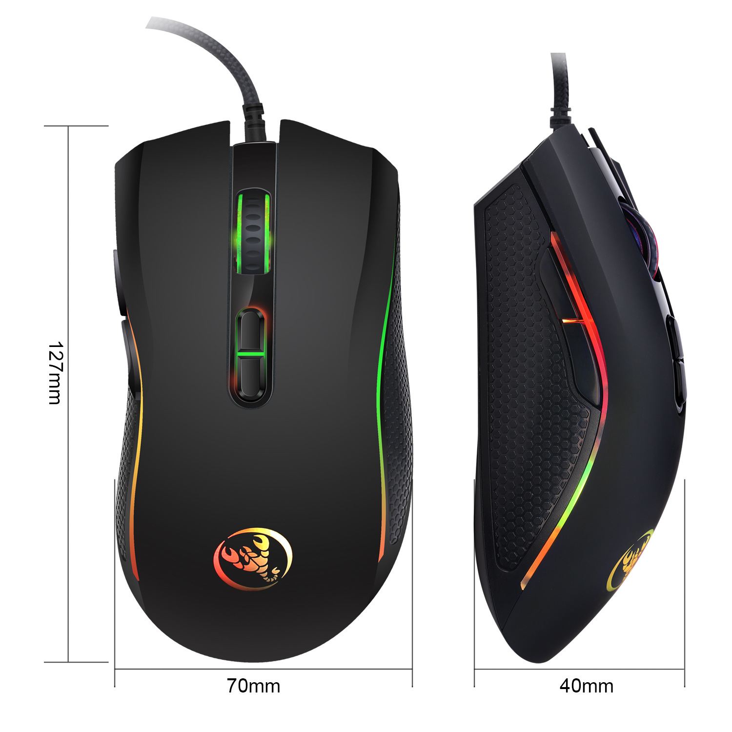 Hongsund brand High-end optical professional gaming mouse with 7 bright colors LED backlit and ergonomics design For LOL CS 3
