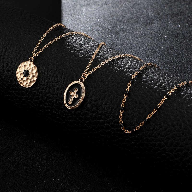 Tocona متعدد الطبقات ريترو الصليب قلادة قلادة للنساء الأسود مطرز الذهب سلسلة المختنق هندسية البوهيمي مجوهرات B25105
