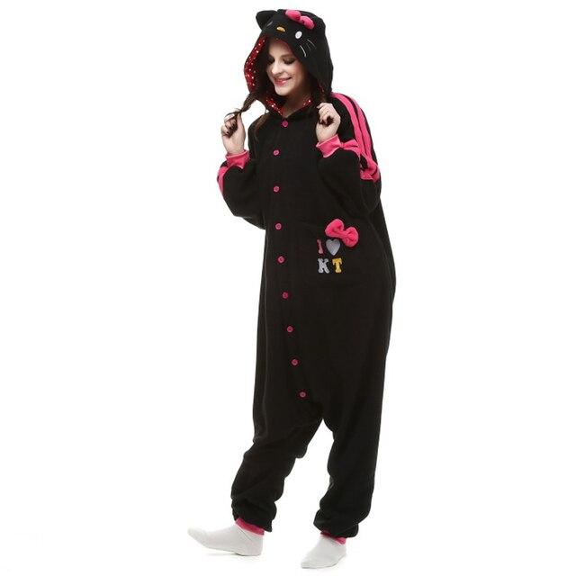e1466d1816c7 Halloween Party Costume Kawaii Cute Black Kitty Black Cat Onesie Pajamas  Costume Unisex Adult One-piece Sleepwear Party Cosplay