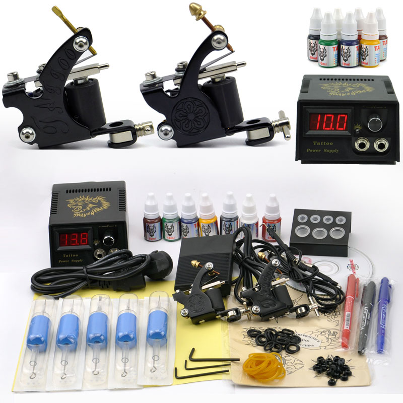 Professional Tattoo kit 2 Tatoo Guns 7 Color Inks complete tattoo machine set rotary Power Supply For body art Tattoo pyrex 813b000 5046