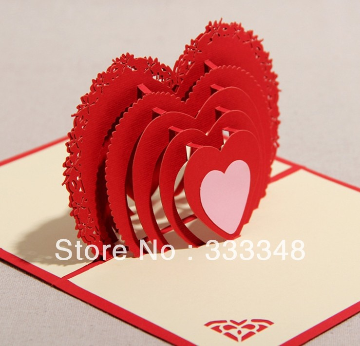 Wholesale Decoupage Cards 3d Red Heart Greeting Cards Handmade Diy