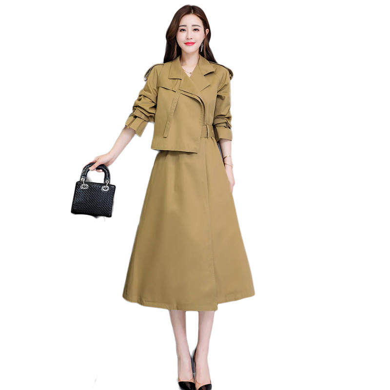 2019 Spring Autumn Fashion Women Long   Trench   Coat Female A-Line Belt Cloak Outerwear Loose Chic Coat Gabardina Mujer   Trench   M73