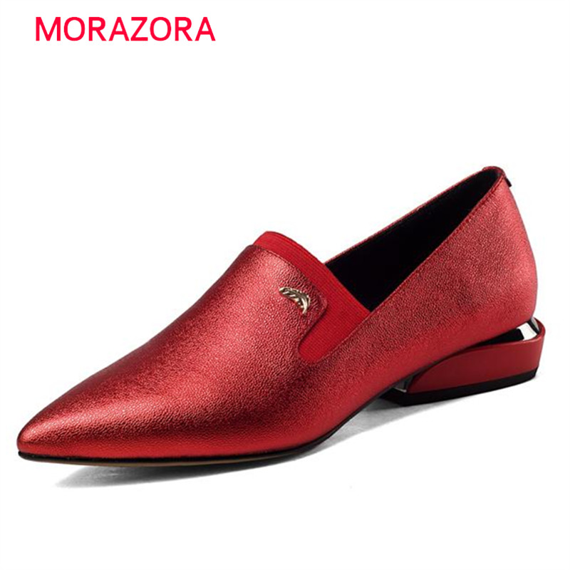 MORAZORA Genuine leather shoes pointed toe flats work shoes women solid top quality contracted large size 33-43 pu pointed toe flats with eyelet strap