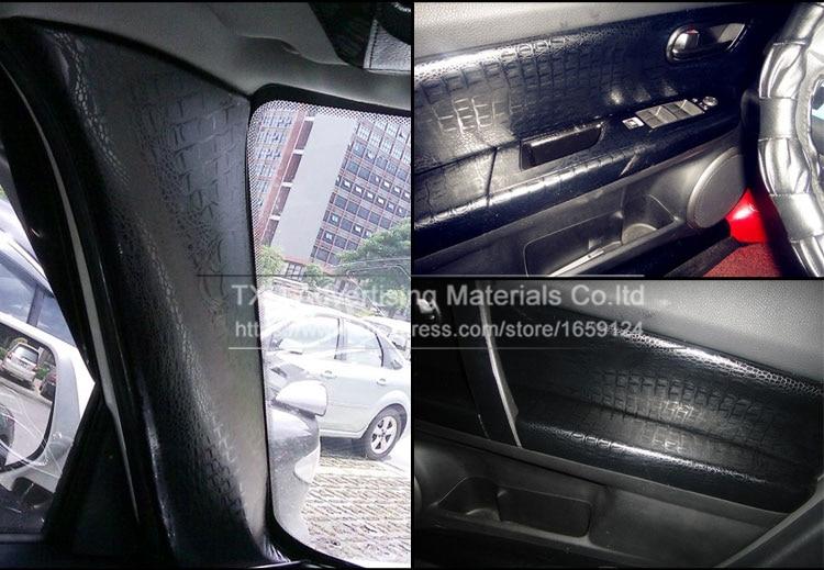 1.52mX5/10/15/20/30m Per Roll Black Crocodile Grain Vinyl sticker for Car interior decoration Crocodile pattern PVC Wrap film - 6