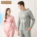Qianxiu Couple Pajamas Set Spring Fashion Cotton Long Sleeves Women Pyjamas Pijamas Lounge Sleepwear Nightwear Top & Bottoms