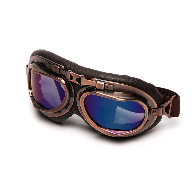 Triclicks Helmet Steampunk Copper Glasses Motorcycle Flying Goggles Vintage Pilot Biker Eyewear Goggles Protective Gear Glasses 2