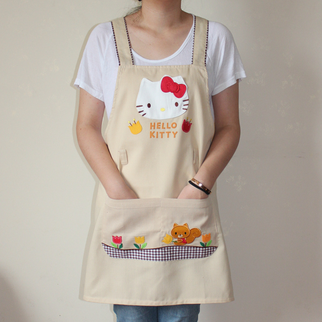 63d2ce33f Bodecin Beige Hello Kitty Japanese Woman Kitchen Apron Avental de Cozinha  Divertido Tablier Cuisine Pinafore Apron