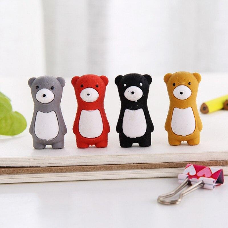 4 Pcs/set Cute Bear Cartoon Animals Shape Rubber Eraser Children Stationery Kawaii School Office Supplies Kids Students Gifts