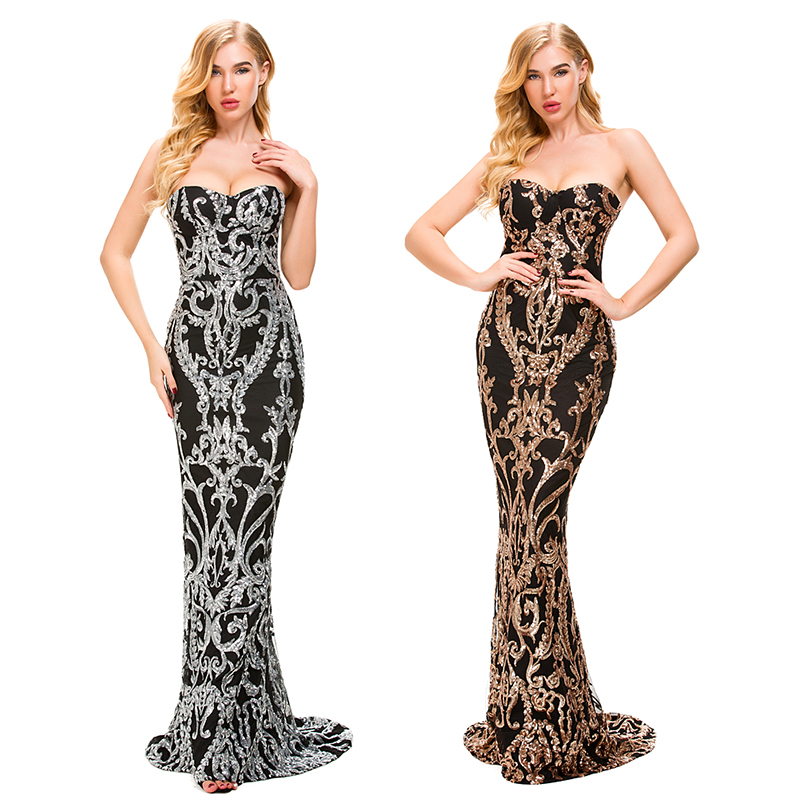 2019 Sexy Retro Geometry Strapless Stretch Sequin Dress Mermaid Floor Length Lining Bodycon Gold Backless Silver