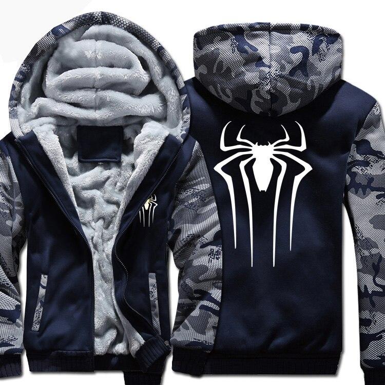 [XHTWCY] New Winter Warm <font><b>spiderman</b></font> spider man Hoodies Marvel Hooded Coat Thick Zipper <font><b>men</b></font> casual <font><b>cardigan</b></font> Jacket Sweatshirt