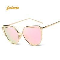 2017 Przyszłość Mody Cat Eye Okulary Przeciwsłoneczne Damskie Marka Designer Metal Odblaskowe Lustrzane Okulary Przeciwsłoneczne Dla Kobiet Twin-Belki óculos Gafas