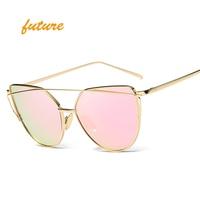 2017Future Fashion Cat Eye Sunglasses Women Brand Designer Metal Reflective Mirror Sun Glasses For Women Twin-Beams oculos Gafas