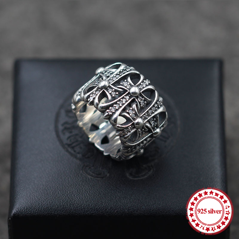 S925 sterling silver men's ring new punk personalized retro style cross diamond fashion boutique jewelry send lover's gift