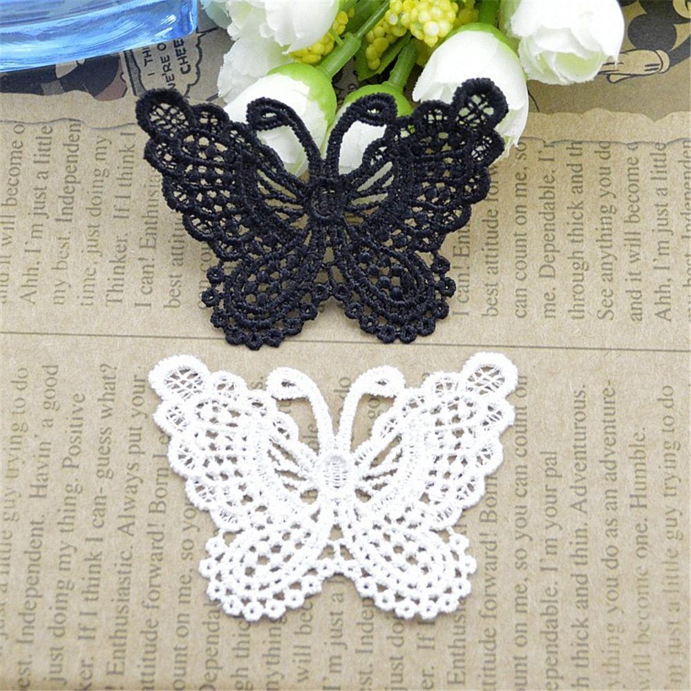 Оптовая продажа 1 ярд гипюр бабочка аппликация отделка кружевная лента 45 мм широкий ювелирные изделия одежда свадебные цветочные аксессуары подарок DIY
