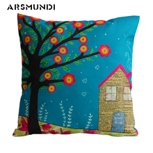 Christmas Cute printed Cushion Cover Square Linen living room bed pillow cover tree waist throw cushion home decorative