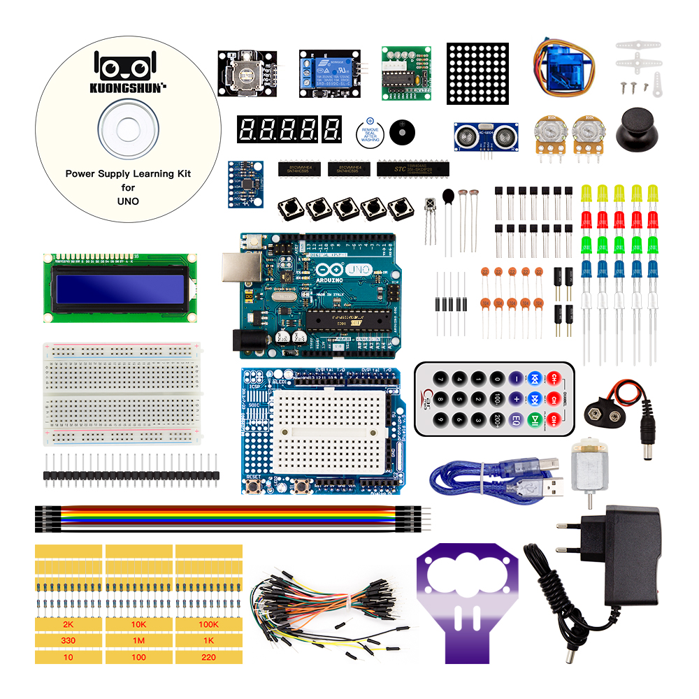 Arduino UNO Project The Most Complete Starter Kit for Arduino Mega2560 UNO Nano with Tutorial / Power Supply / Motor