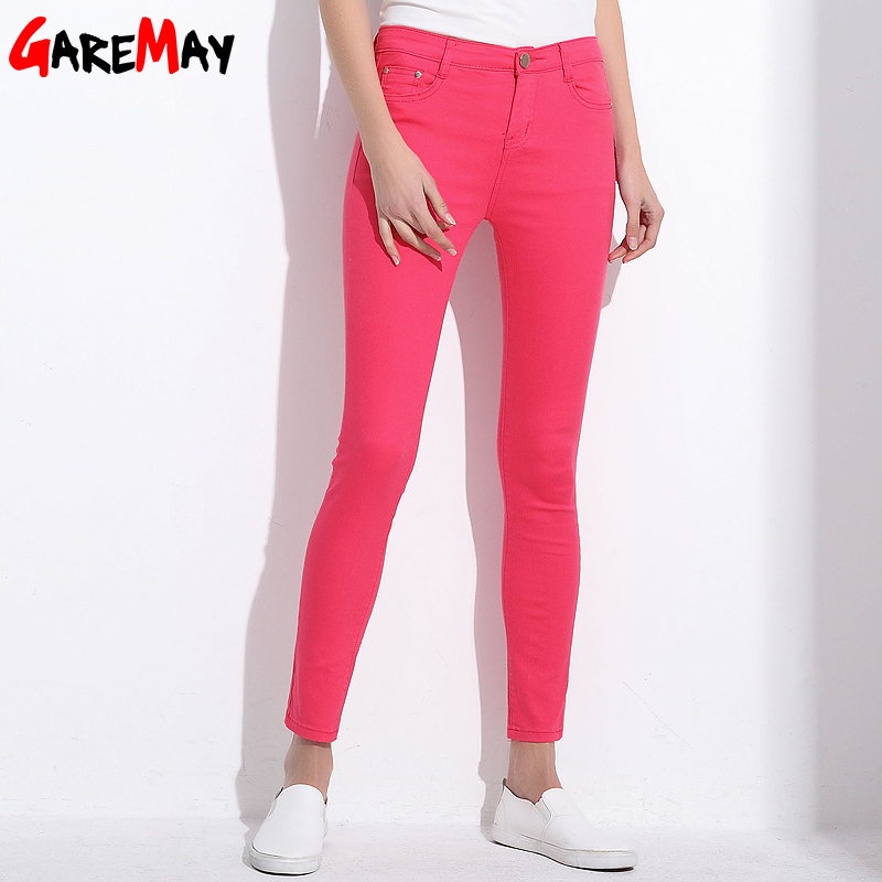 Garemay Women's Candy Pants Pencil Trousers Spring Fall Khaki Stretch Pants For Women Slim Ladies Jean Trousers Female 1010