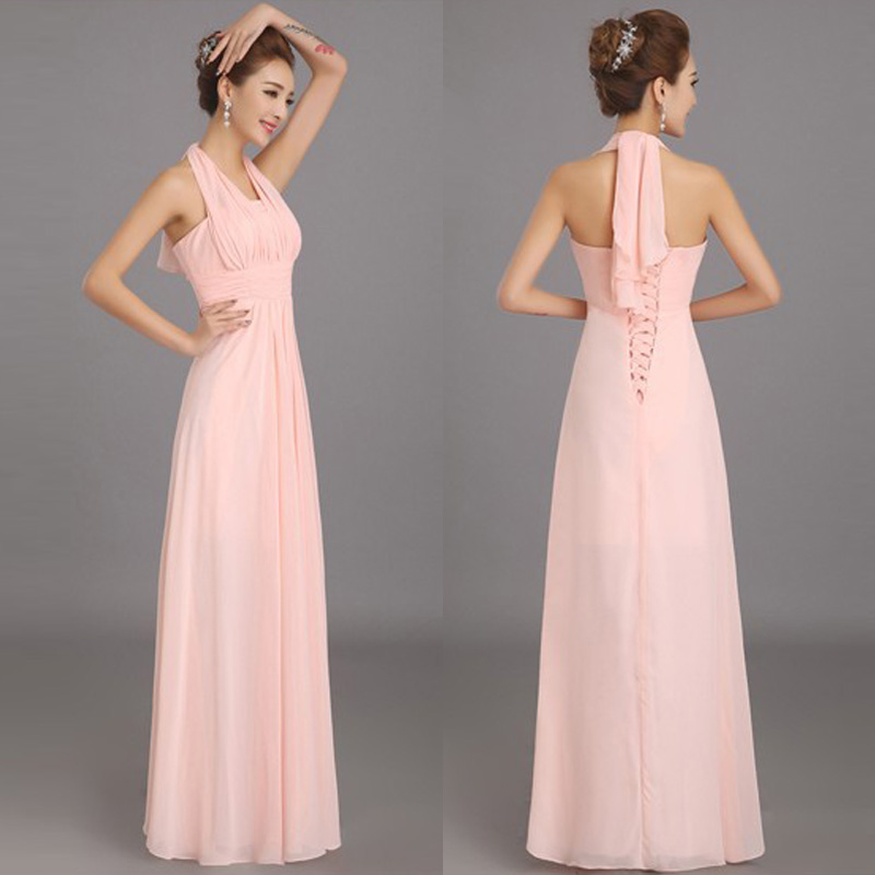 New Halter Soft Pink Long Chiffon Bridesmaid Dresses Wedding Party Prom Dress Plus Size Customize Large Lace Up De Honra In From