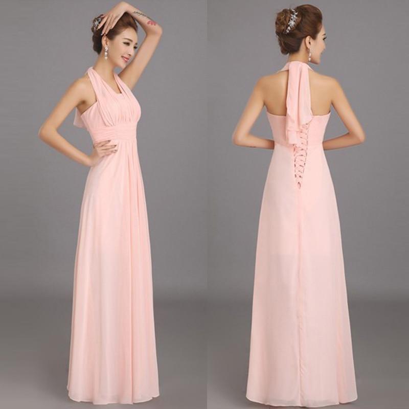 New Halter Soft Pink Long Chiffon Bridesmaid Dresses Cheap Wedding ...